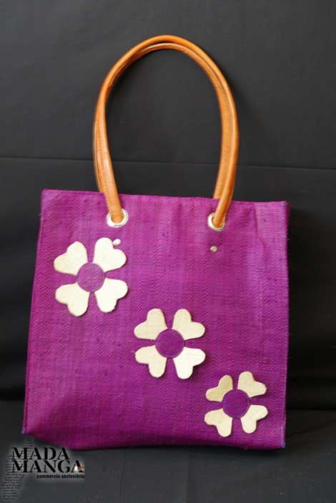 Borsa in rafia con fiori applicati